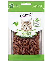 PACK 10 pcs- Dokas - Minis - Cubes of chicken breast and salmon with catnip 30 g