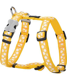 Dog Harness 12 mm x 30-44 cm-White Spots on Yellow