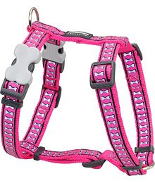 Dog Harness 12 mm x 30-44 cm– Refl. Bones Hot Pink