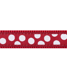 Multi Dog Lead 12 mm x 2 m- White Spots on Red