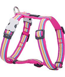 Dog harness 12 mm x 30-44 cm - Horizontal Stripes Hot Pink