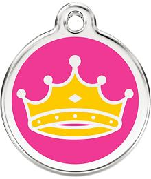 Pet ID Tag Small 20 mm - Crown Yellow on Hot Pink