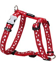 Dog Harness 12 mm x 30-44 cm - White Spots on Red