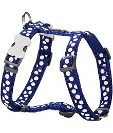 Dog Harness 12 mm x 30-44 cm - White Spots on Navy