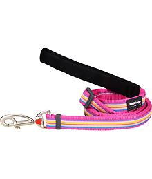 Dog Lead 12 mm x 1,8 m - Horizontal Stripes Hot Pink
