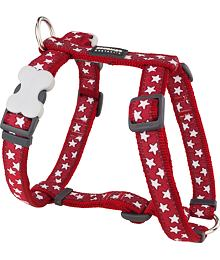 Dog harness 12 mm x 30-44 cm - Stars White on Red