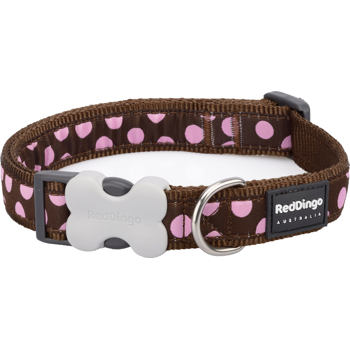 Dog Collar 12 mm x 20-32 cm – Pink Spots on Brown