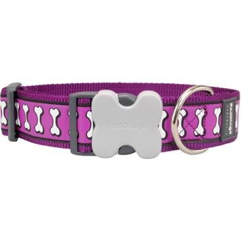 Dog Collar 40 mm x 37-55 cm – Refl. Bones Purple