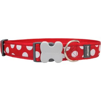 Dog Collar 40 mm x 50-80cm – White Spots on Red