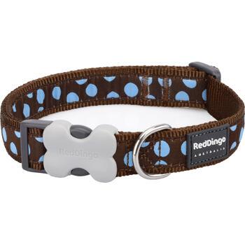 Dog Collar 15 mm x 24-37cm – Blue Spots on Brown