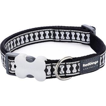 Dog Collar 15 mm x 24-37 cm – Refl. Bones Black