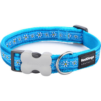 Dog Collar 20 mm x 30-47 cm– Daisy Chain Turquoise