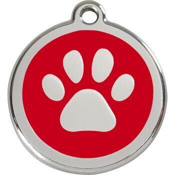 Pet ID Tag - Paw Print Red