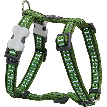Dog Harness 25 mm x 56-80cm – Refl. Bones Green