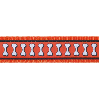 Martingale Dog Collar 25 mm – Refl. Bones Orange