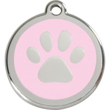 Pet ID Tag - Paw Print Pink