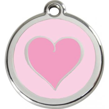 Pet ID Tag - Heart Pink