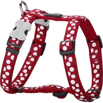 Dog Harness 25 mm x 56-80 cm - White Spots on Red