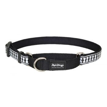 Martingale Collar 15 mm – Reflective Bones Black
