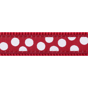 Dog Collar 12 mm x 20-32 cm – White Spots on Red