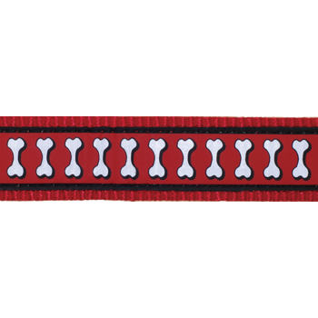 Martingale Collar 15 mm – Reflective Bones Red