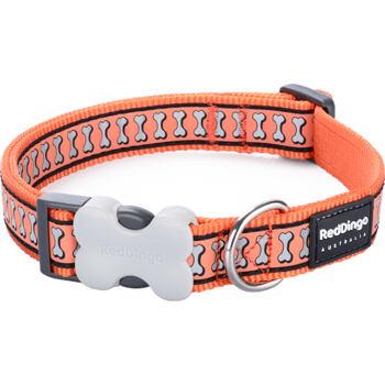 Dog Collar 20 mm x 30-47 cm – Refl. Bones Orange