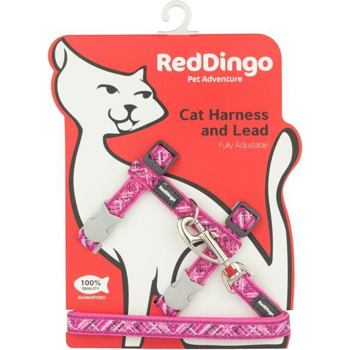 Cat Harnees & Lead - Flanno Hot Pink