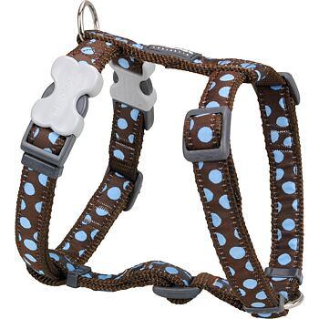 Dog Harness 25 mm x 56-80 cm - Blue Spots on Brown