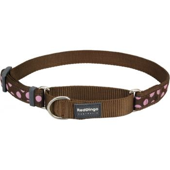 Martingale Dog Collar 25 mm - Pink Spots on Brown