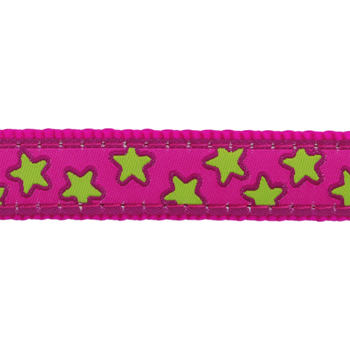 Cat Collar 12 mm x 20-32 cm - Stars Lime on H.Pink
