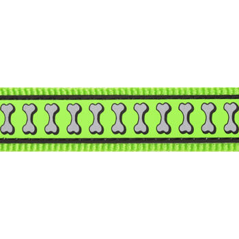 Dog Collar 25 mm x 41-63 cm – Refl. Bones Lime