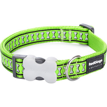 Dog Collar 15 mm x 24-37 cm – Refl. Bones Lime