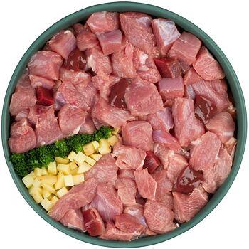 Zdravý a chutný masový salám, který obsahuje 90% čerstvého krůtího masa, brambory a brokolici.