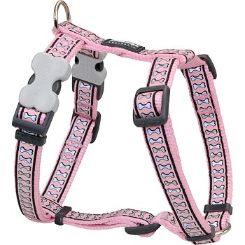 Dog Harness 12 mm x 30-44 cm – Refl. Bones Pink