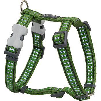 Dog Harness 25 mm x 71-113 cm – Refl. Bones Green