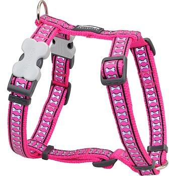 Dog Harness 25 mm x 56-80cm – Refl. Bones Hot Pink