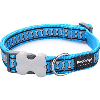 Dog Collar 15 mm x 24-37 cm – Refl.Bones Turquoise