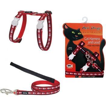 Cat Harnees & Lead - Fishbone Red