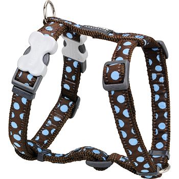 Dog Harness 25 mm x 71-113 cm- Blue Spots on Brown