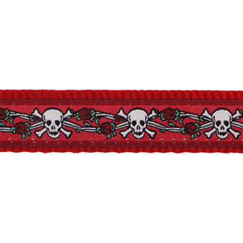 Dog Lead 12 mm x 1,8 m - Skull & Roses Red