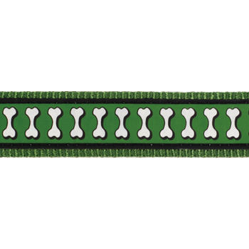 Dog Lead 15 mm x 1,8 m – Refl. Bones Green