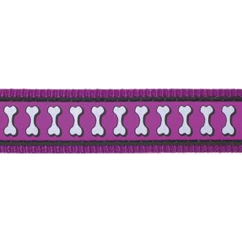 Dog Collar 20 mm x 30-47 cm – Refl. Bones Purple