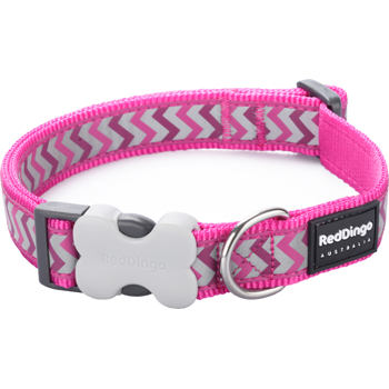 Dog Collar 20 mm x 30-47 cm – Refl. Ziggy Hot Pink