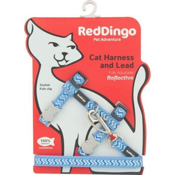 Cat Harnees & Lead - Reflective Ziggy Med.Blue
