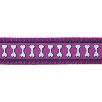 Multi Dog Lead 25 mm x 2 m – Refl. Bones Purple