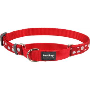 Martingale Dog Collar 25 mm - White Spots on Red