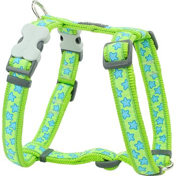 Dog Harness 20 mm x 45-66 cm - Stars Turquoise