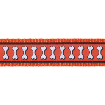 Dog Collar 15 mm x 24-37 cm – Refl. Bones Orange