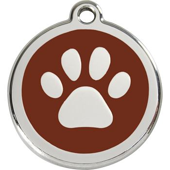 Pet ID Tag - Paw Print Brown